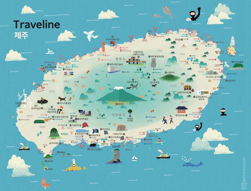 Mapa turístico de Jeju. Fuente: Google Search.