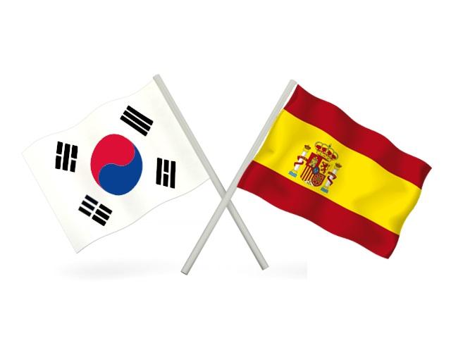 Banderas España y Corea del Sur.